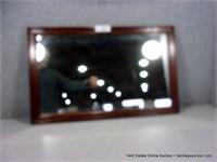SMALL ENGLISH WALNUT FRAMED RECTANGULAR WALL MIRRO