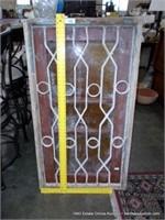 RUSTIC EGYPTIAN PINE DECORATIVE GLASS WINDOW W/ IR
