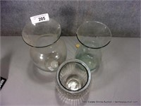 LOT (3): CLEAR & PRESSED GLASS MIXED SIZE FLOWER V