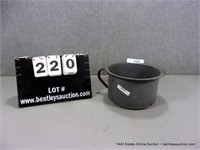 GREY ENAMELWARE SMALL HANDLED SAUCE PAN