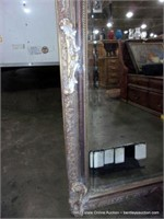 FRENCH STYLED PLASTER CASTED BEVELED WALL MIRROR,