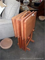 RED STAINED ASH 4-TABLE TV TRAY TABLE STANDS