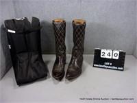 JUSTIN DARK BROWN HIGH TOP DRESS BOOTS, SZ: 11C