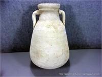 RUSTIC ROUND BOTTOM WHITE WASH EGYPTIAN JUG / VASE