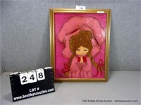 FRAMED HEAVY ACRYLLIC ON BOARD PAINTING, PINK GIRL