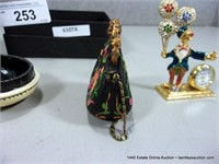 SMALL BOX: SMALL GOLDEN CLOWN CLOCK FIGURE, RESIN