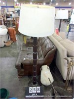 TALL SEGMENTED COLUMN FLOOR LAMP, REPAIRED