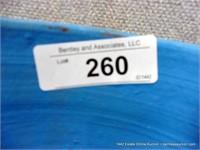 RUSTIC BLUE GLAZED EGYPTIAN TERRA COTTA FLOWER PLA