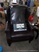 BROWN CHOCOLATE VINYL UPHOLSTERED WINGBACK RECLINE