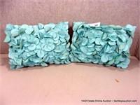 LOT (2): BLUE PETAL STUFFED OUTDOOR THROW PILLOWS