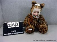 DECORATIVE LEOPARD PRINT DRESSED BABY DOLL