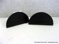 LOT (2): DECORATIVE BRASS & BLACK WOOD SMALL WALL