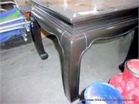 BURLED & BLACK OAK ORIENTAL STYLED END TABLE
