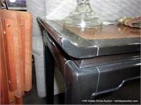 BURLED & BLACK OAK ORIENTAL STYLED LARGE SQUARE TA
