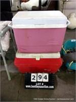 LOT (2): RUBBERMAID & GOTT POLY ICE CHEST (2X MONE