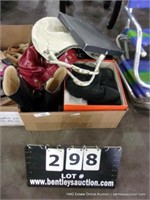BOX: ASSORTED HAND BAGS, BOOTS, SHOES