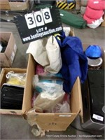 BOX: ASSORTED BLANKETS, CLOTHING & MATERIAL