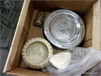 BOX: BATHROOM SCALE, FLOWER PLANTER, COMMEMORATIVE