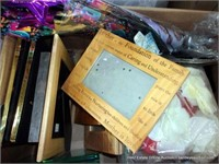BOX: ASSORTED SMALL PICTURE FRAMES, CASSETTE TAPES