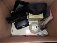 BOX: ASSORTED OFFICE SUPPLIES & EYE GLASSES