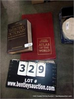 LOT: LARGE WEBSTERS DICTIONARY & LARGE WORLD ATLAS