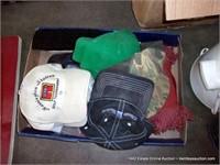 BOX: ASSORTED BALL CAPS, BRUSHES & DUST BROOM