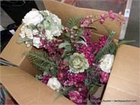 BOX: MIXED DECORATIVE SILK FAKE FLOWERS