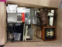 BOX: MIXED OFFICE HARDWARE - CALCULATORS, STAPLERS