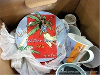 BOX: ASSORTED COFFEE MUGS & PLASTIC PARTY PLATES