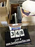 BOX: LAPTOP, PICTURE FRAMES & STAPLER