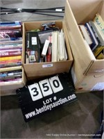 BOX: ASSORTED BOOKS, MOVIES, ELECTRONIC PHOTO FRAM