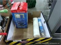 BOX: HONEYWELL WATER FILTER & CANVAS TOOL BELT