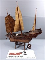 Antique Chinese Junk Ship Model