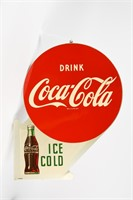 1957 DRINK COCA-COLA ICE COLD PAINTED METAL FLANGE