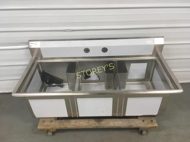NEW Omcan S/S Triple Well Sink w/ Legs - 5'