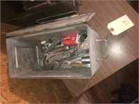 Two metal ammo boxes with wrenches