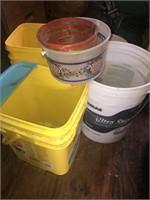 Assorted sizes plastic buckets