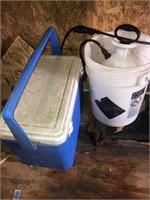 Coleman ice chest, sprayer and bucket