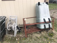 Plastic hose reel & metal trash holder