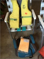 Life jackets and lawn chairs