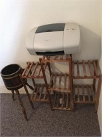 Plant stands and printer