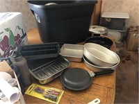 Tote full of kitchenware