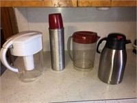 Thermos and plastic pitchers