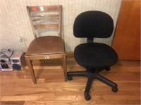 Office chair and ladder back chair