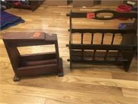Wooden low barstool & magazine rack