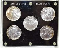 5 Silver United State 999 Fine Silver Eagles