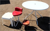 Vintage metal stool & childs chair, patio talbe, plastic stand