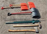 Axe, sledge hammer, snow shovels, yard stakes