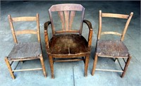 (3) Very Old Wood Chairs