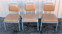 (3) Metal Padded Chairs
